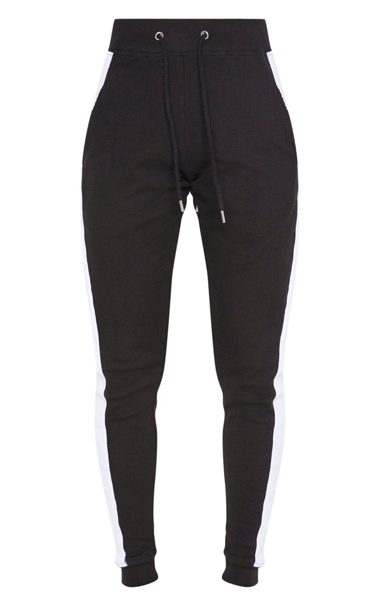 Black Waffle High Waisted Side Stripe Jogger 3