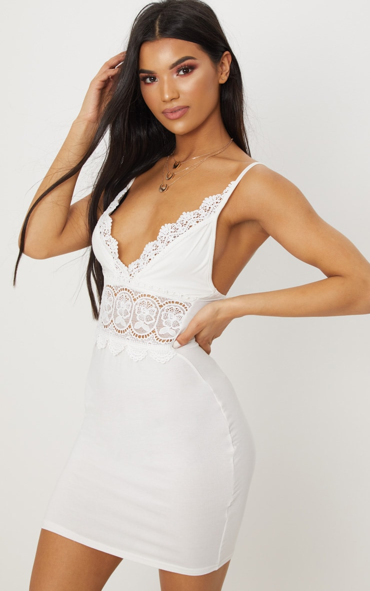 White Crochet Trim Bodycon Dress 1