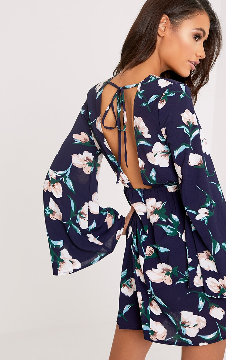 Naysia Navy Floral Print Open Back Shift Dress 2