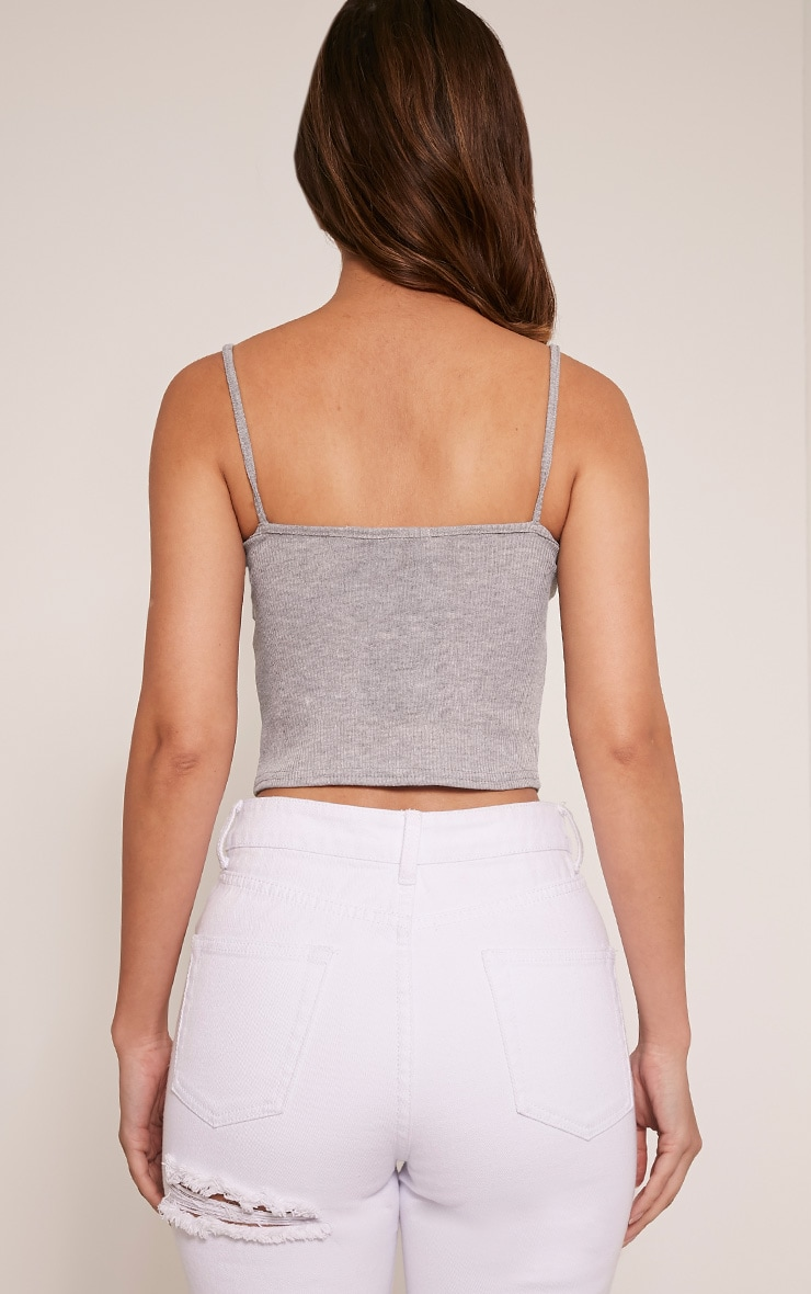 Basic Grey Strap V Neck Vest 2