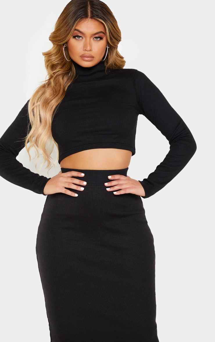 Black High Neck Structured Rib Long Sleeve Crop Top 1