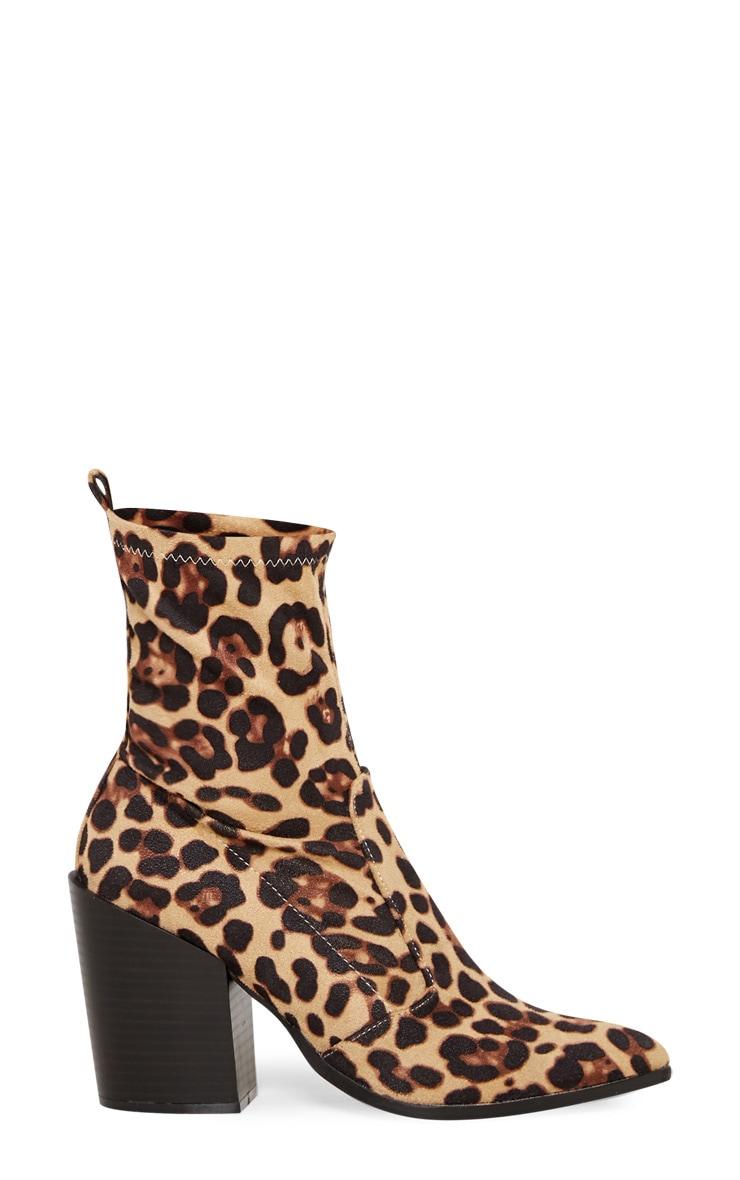 Leopard Print Faux Suede Western Sock Boot 3