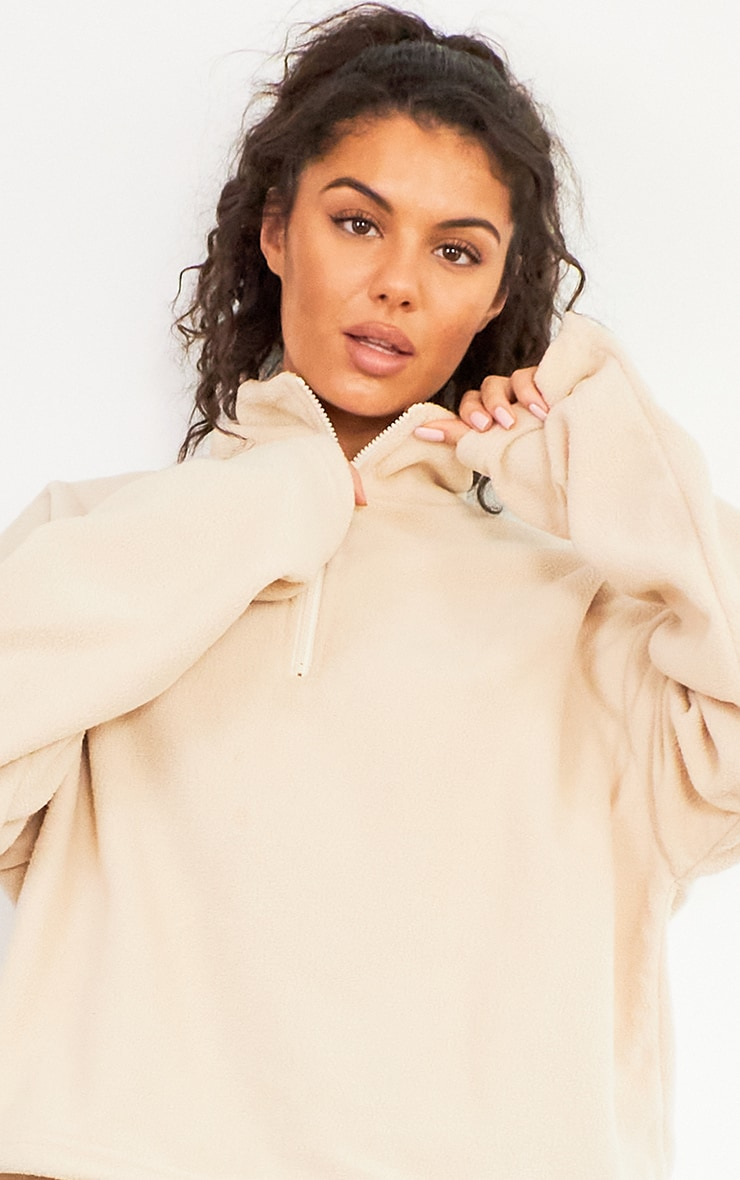 Sand Zip Front Fleece Sweater 4