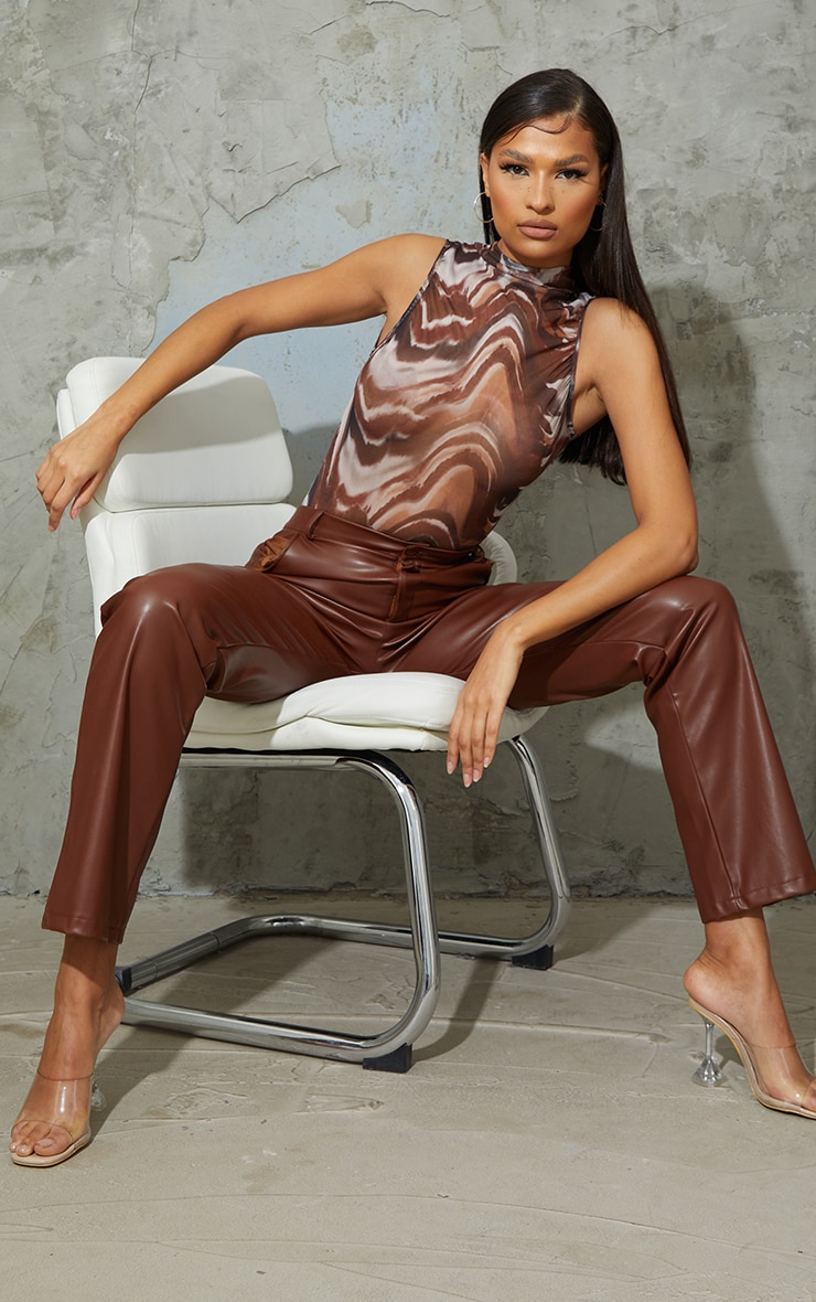 Brown Abstract Animal Print Sheer High Neck Ruched Bodysuit 3
