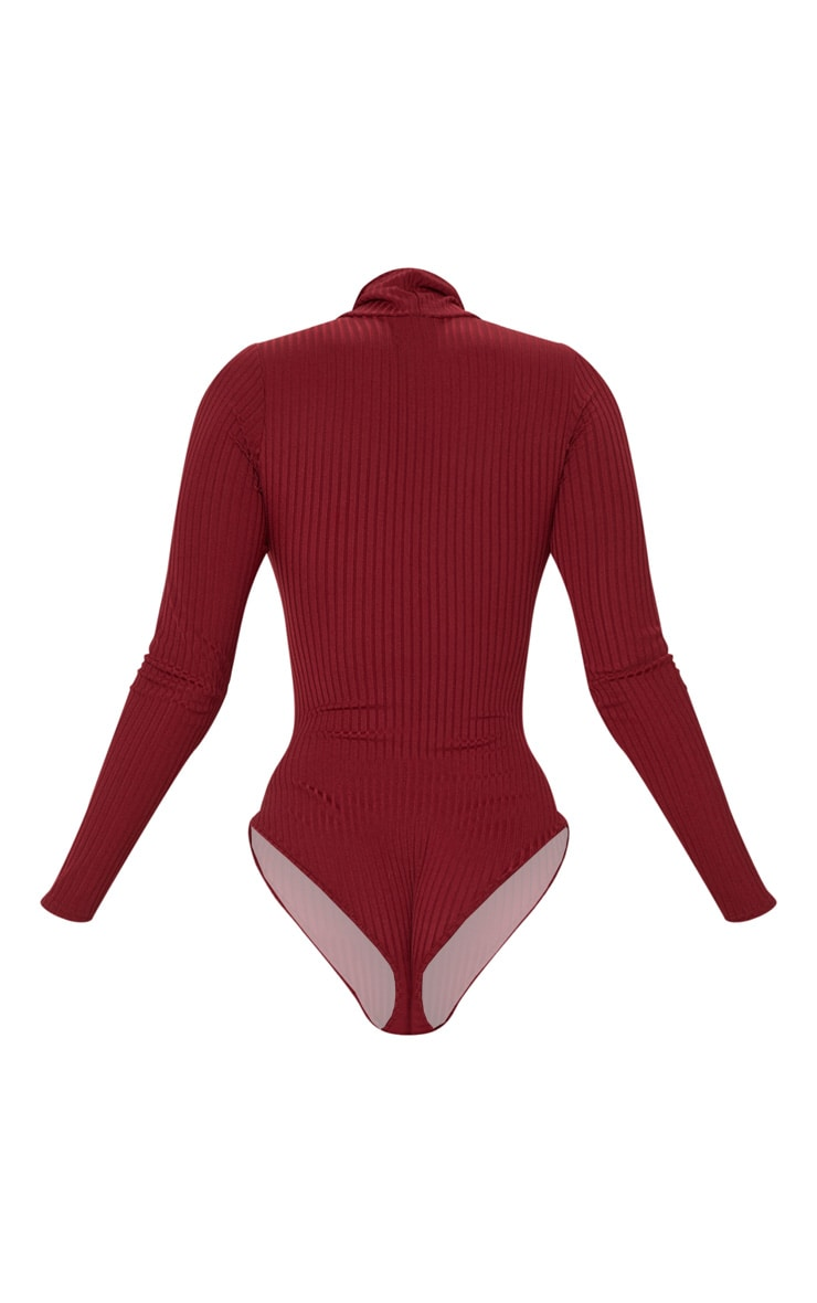 Maroon Rib Roll Neck Long Sleeve Bodysuit 4