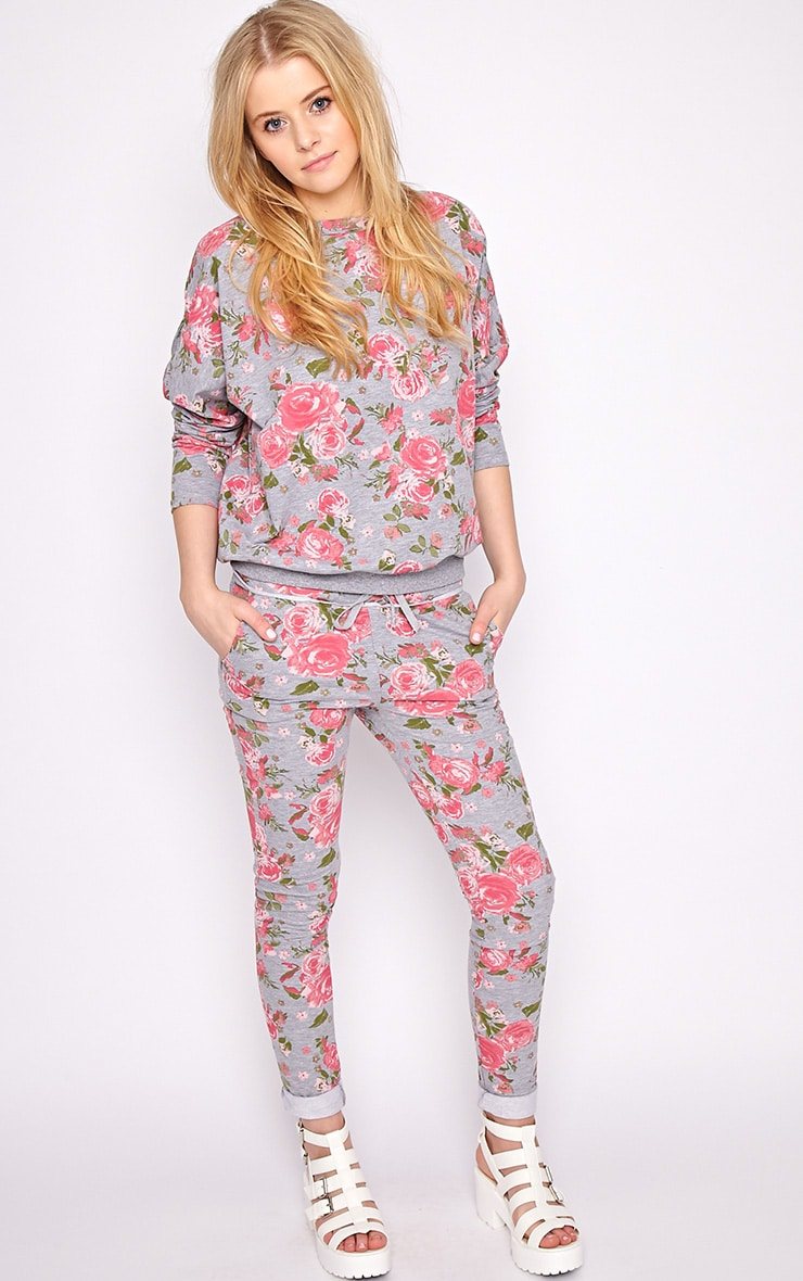 Aria Grey Floral Sweater Pants 1