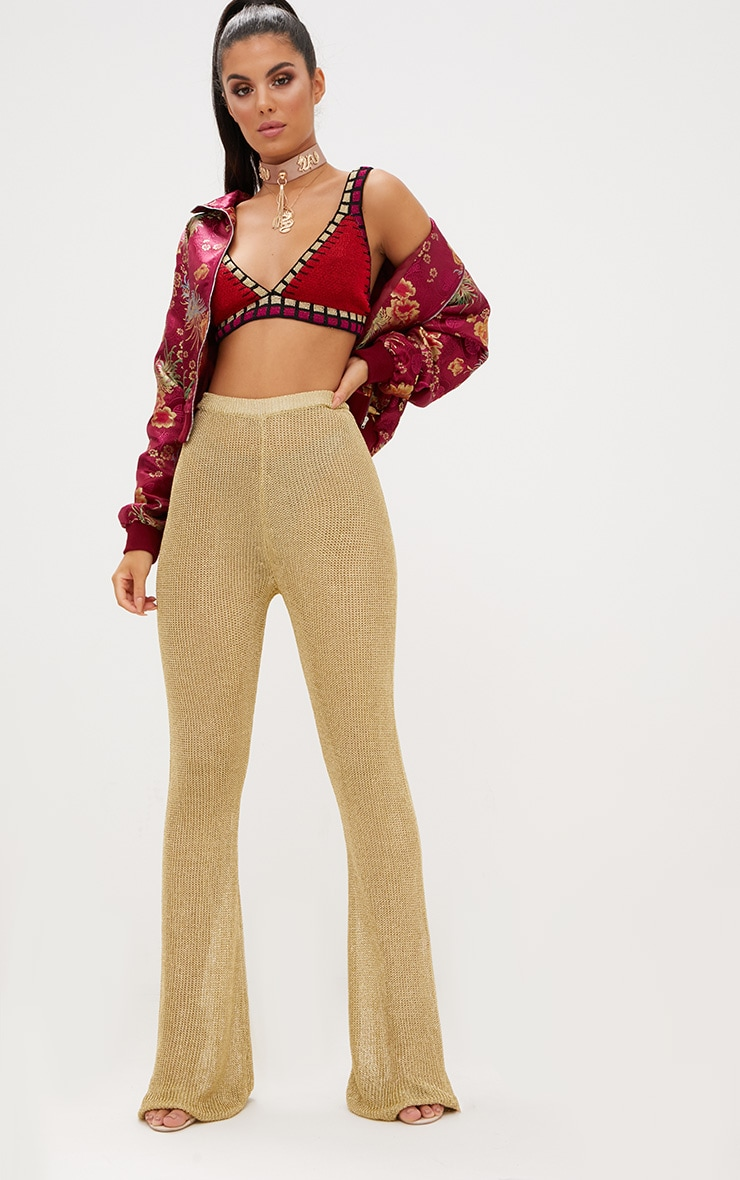 Gold Metallic Knit Flared Trousers 1
