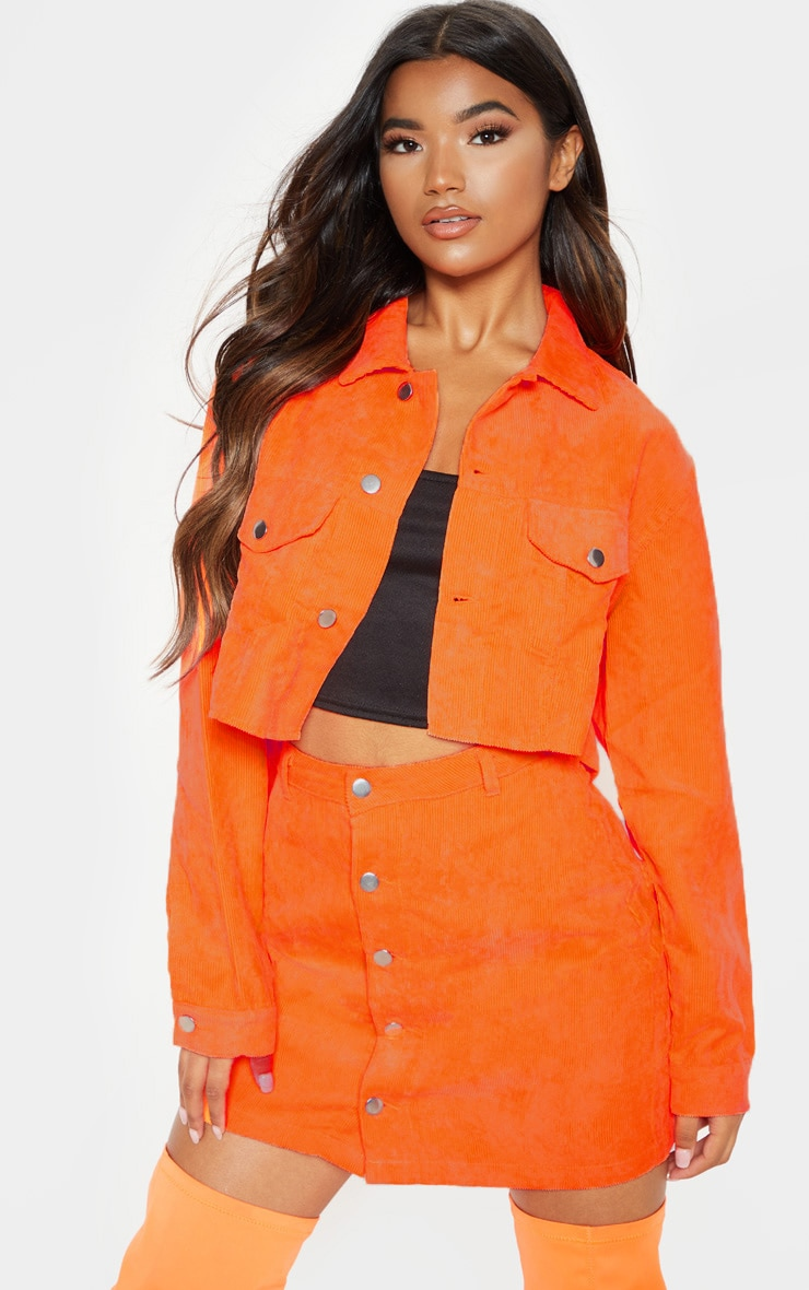 Neon Orange Cropped Cord Jacket  Denim  Prettylittlething Ie-2144