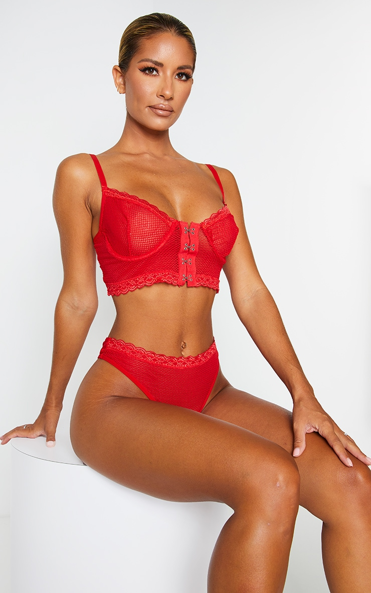Red Mesh Lace Trim Hook And Eye Underwired Bra 1