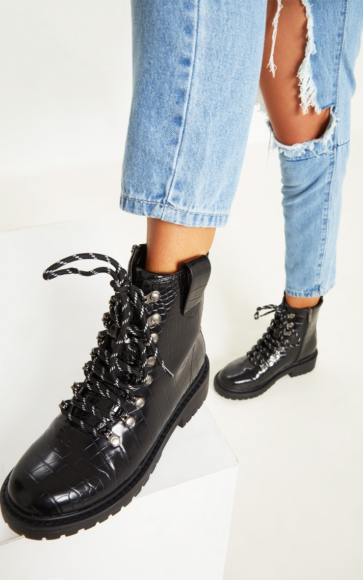 Black Croc Hiker Boot   2
