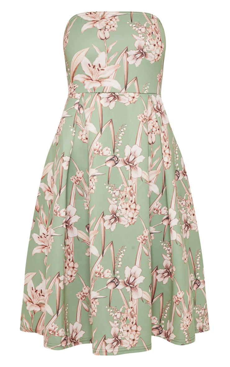 Sage Green Floral Print Bandeau Midi Skater Dress 3