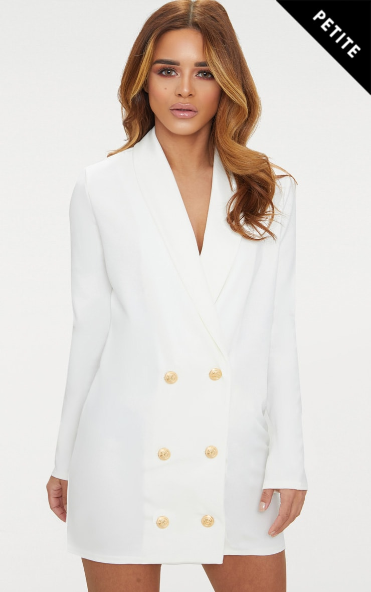 Petite White Gold Button Blazer Dress 1