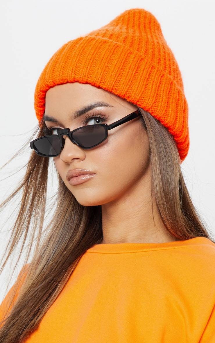 Neon Orange Knitted Ribbed Beanie