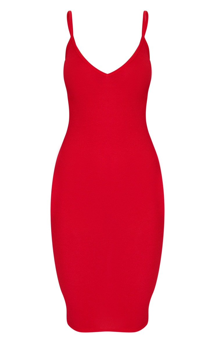 Red Ribbed Plunge Bodycon Dress 6