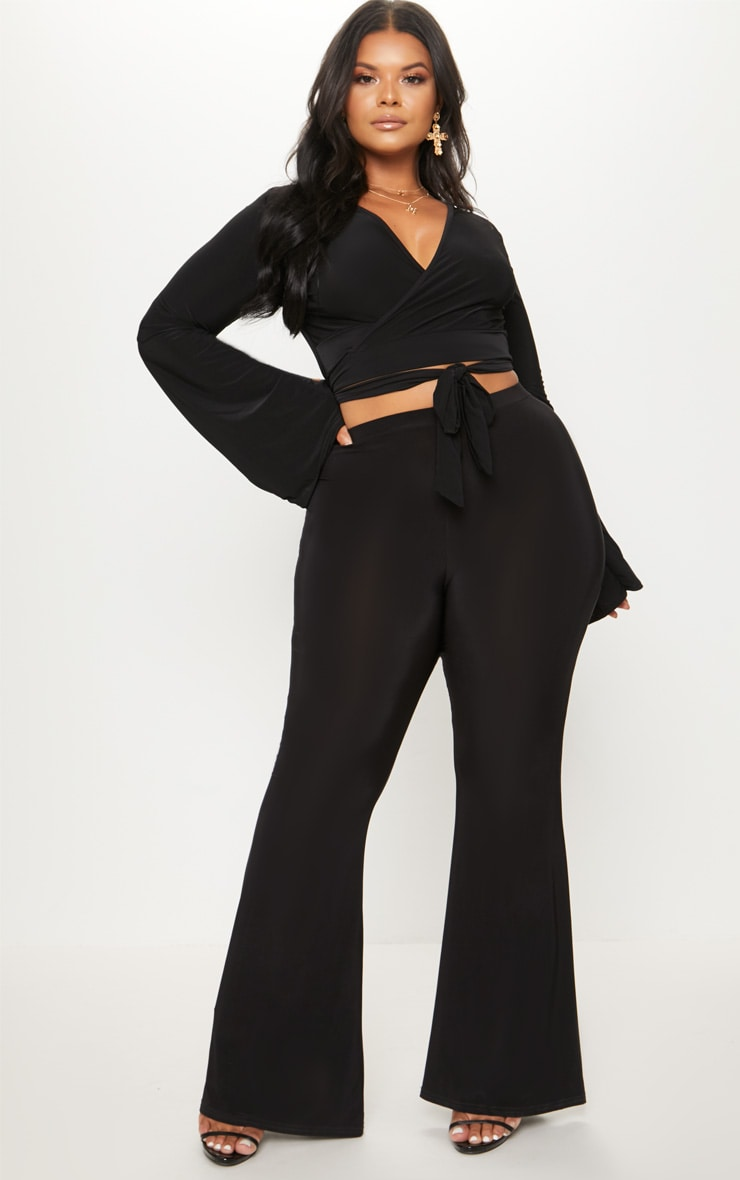 Plus Black Slinky Wrap Waist Crop Top 4