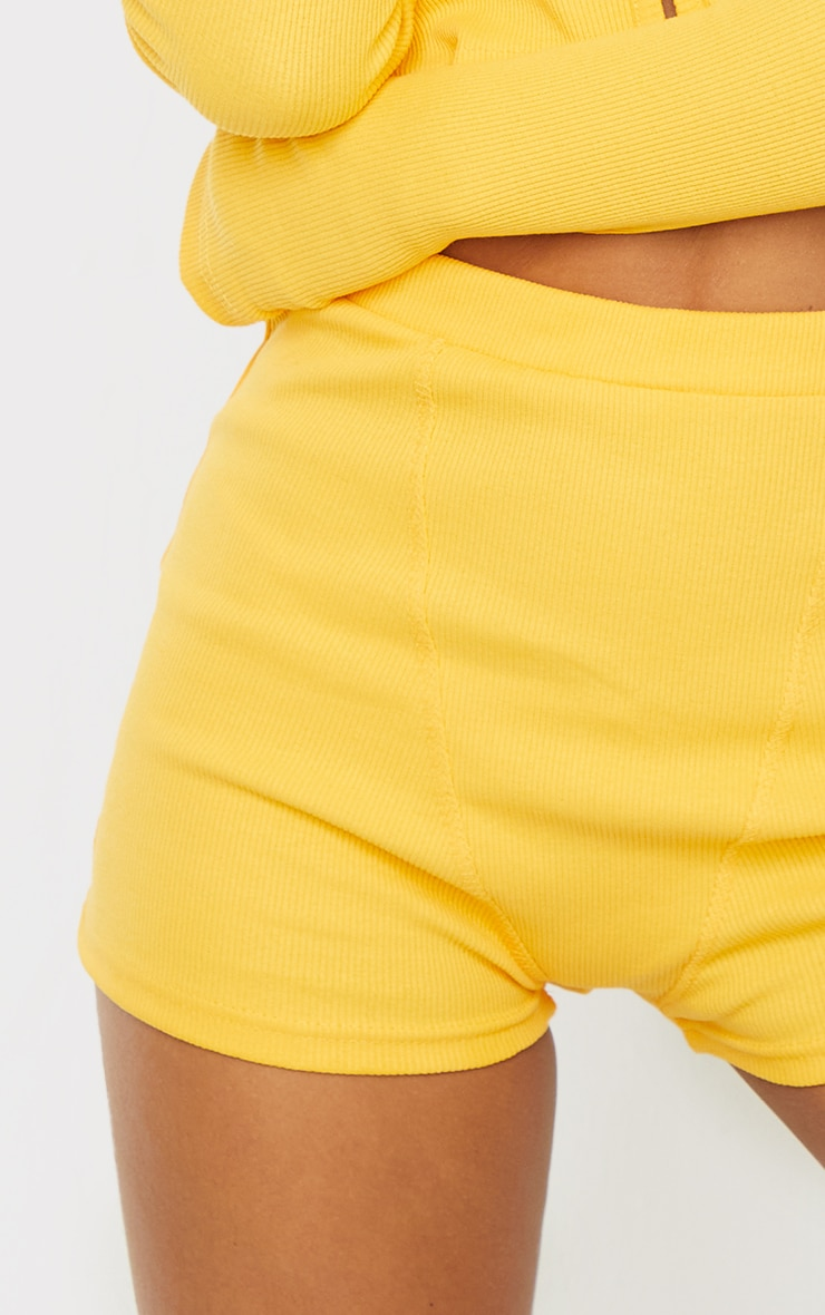 Yellow Heavy Rib Boxer Seam Detail Hot Pants 5
