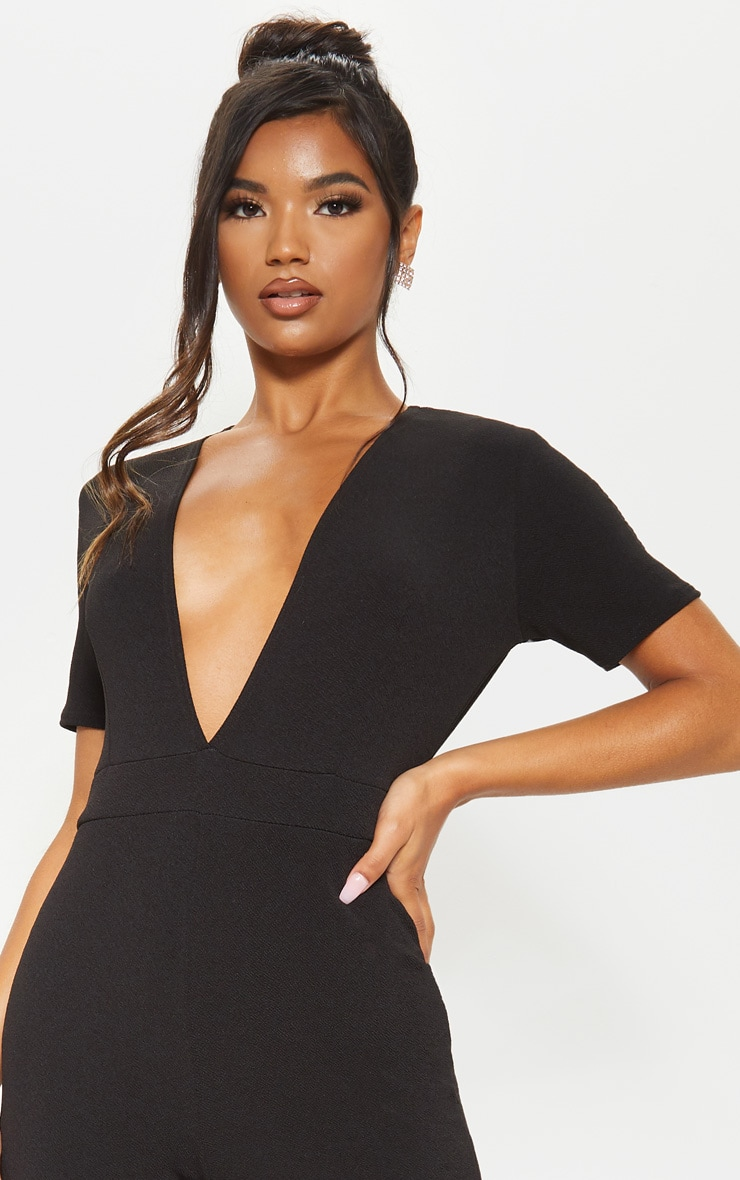 Black Short Sleeve Plunge Jumpsuit 5