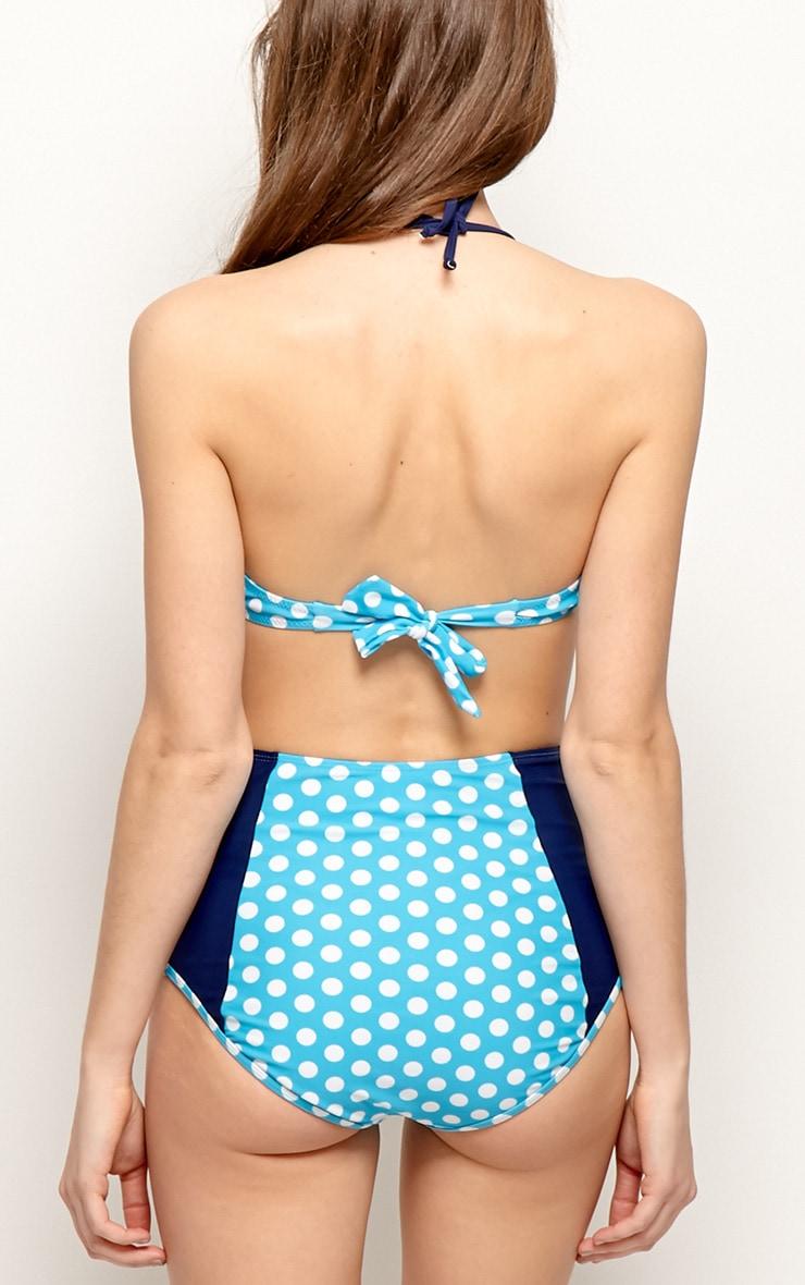 Alisa Blue High Waist Spot Print Bikini 2