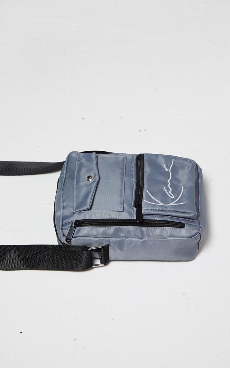 KARL KANI Ice Grey Zip Pocket Detail Shoulder Bag 4
