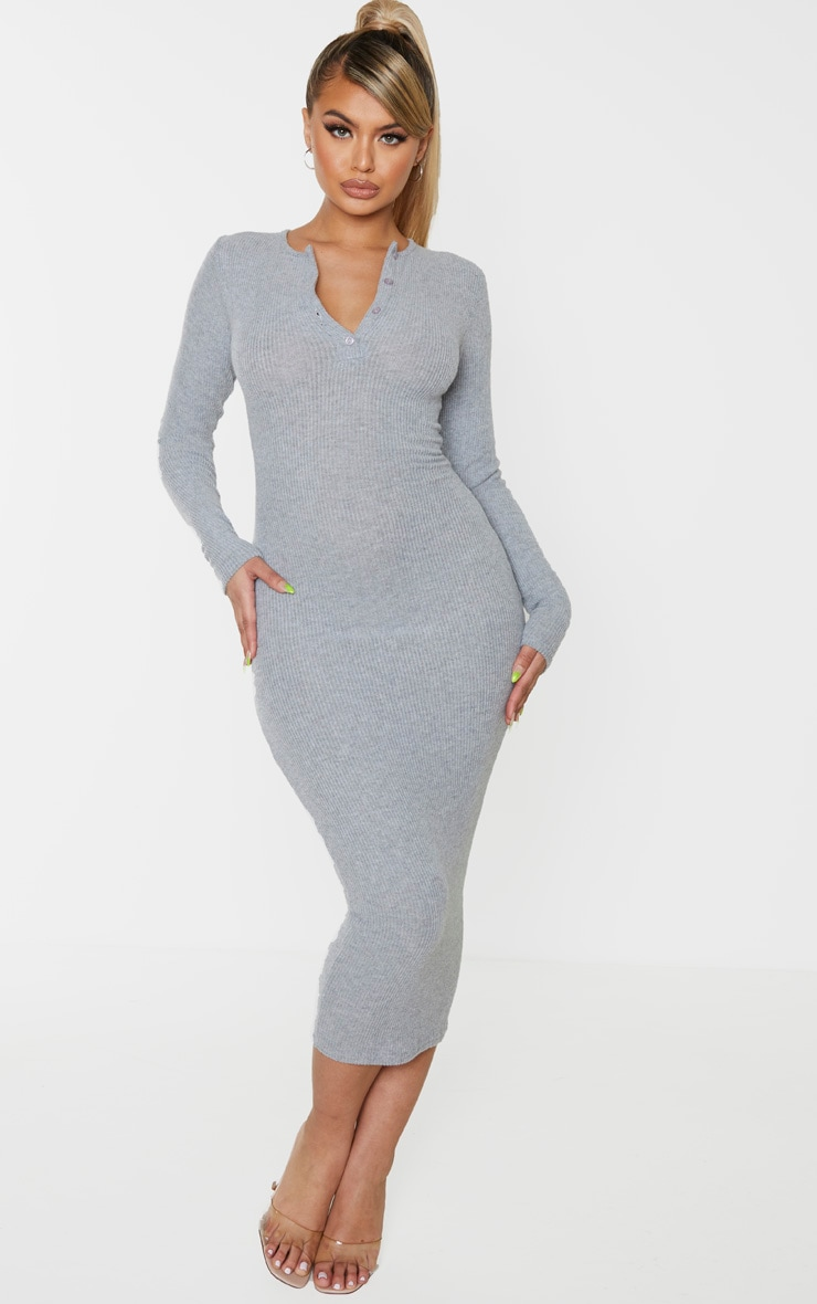 Grey Brushed Rib Button Front Midaxi Dress 1