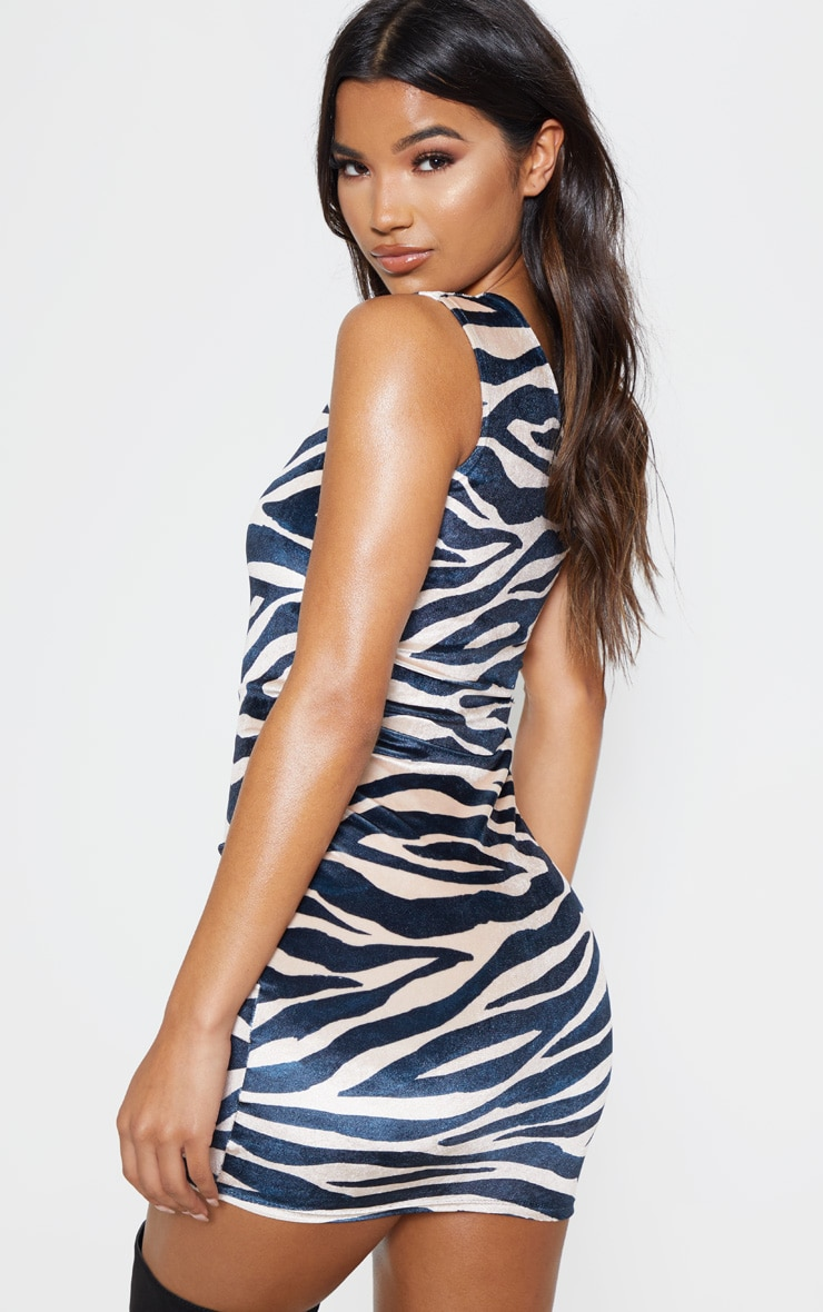 Multi Zebra Print Velvet One Shoulder Bodycon Dress 2