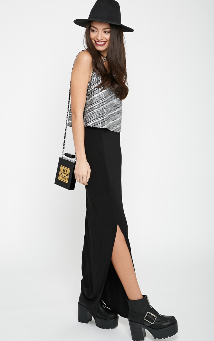Mya Black Split Maxi Dress with Metallic Frill 3