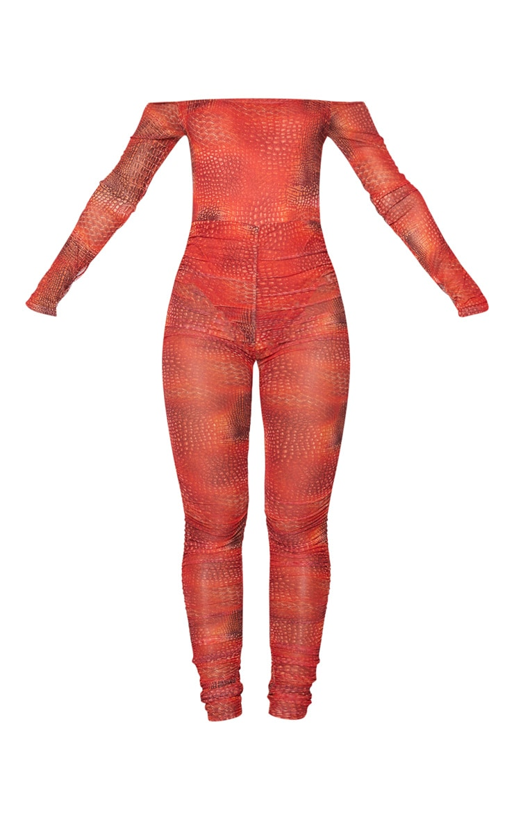 Orange Croc Mesh Bardot Ruched Jumpsuit 5