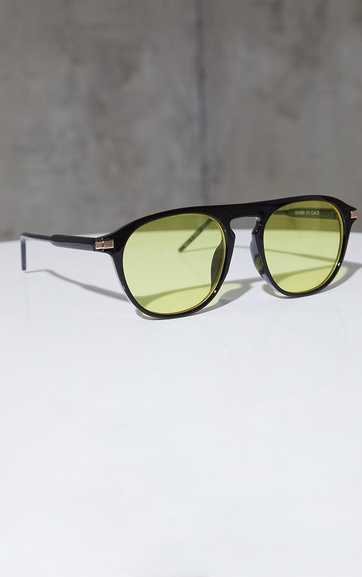 Yellow Lens Round Black Frame Sunglasses image 2