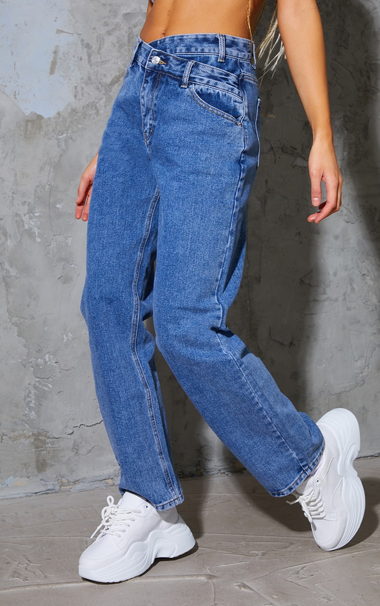 Light Blue Wash Asymmetric Waistband Boyfriend Jeans 2
