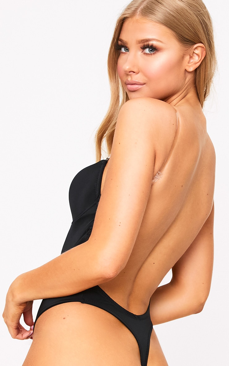 Black Shapewear Plunge Bodysuit 3