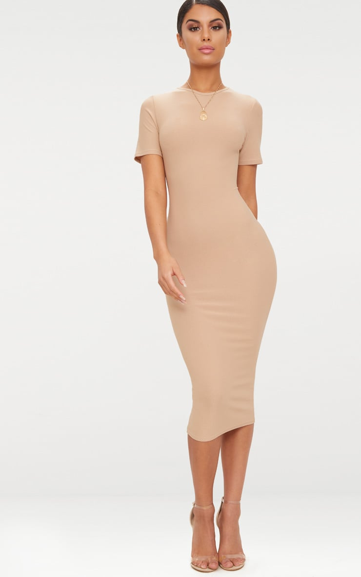 Basic Taupe Cap Sleeve Midi Dress  1
