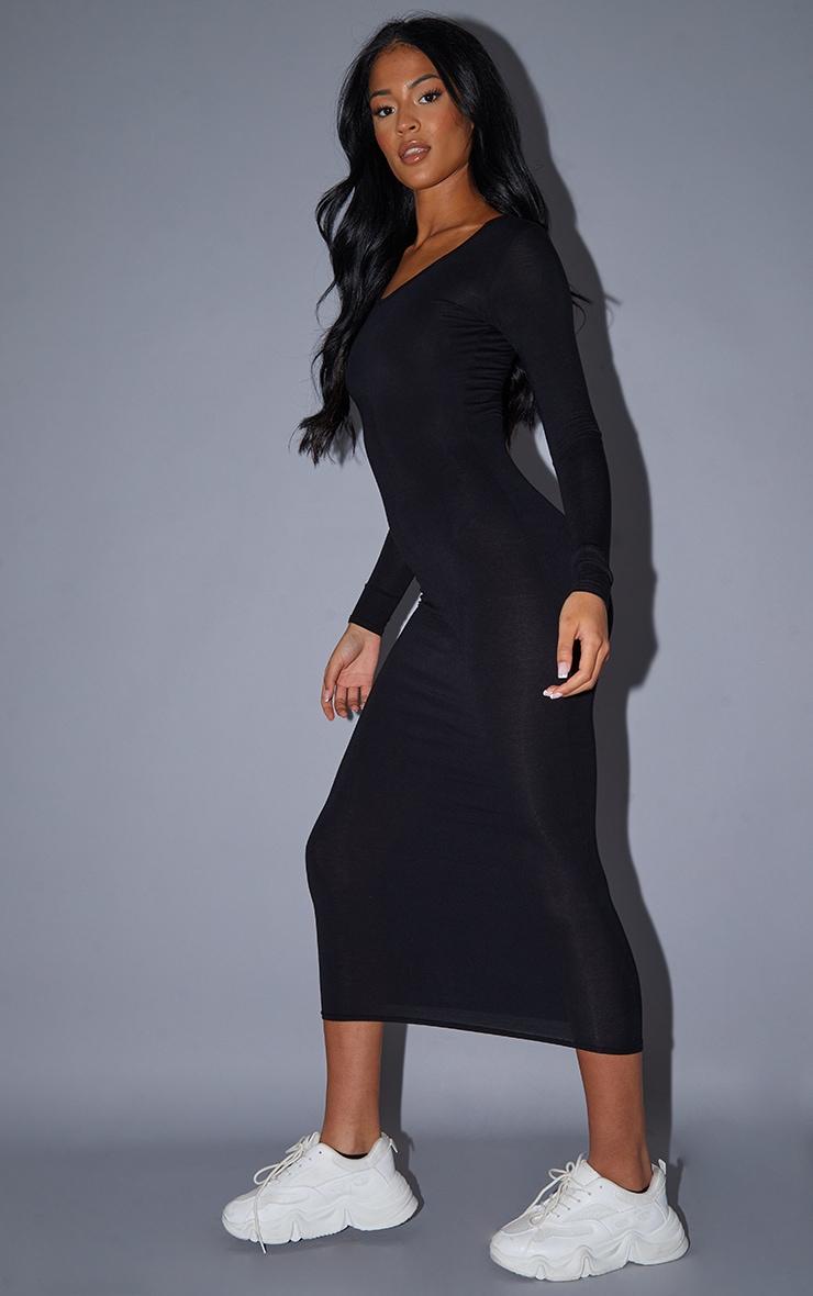 Tall Black Long Sleeve Jersey Maxi Dress 4