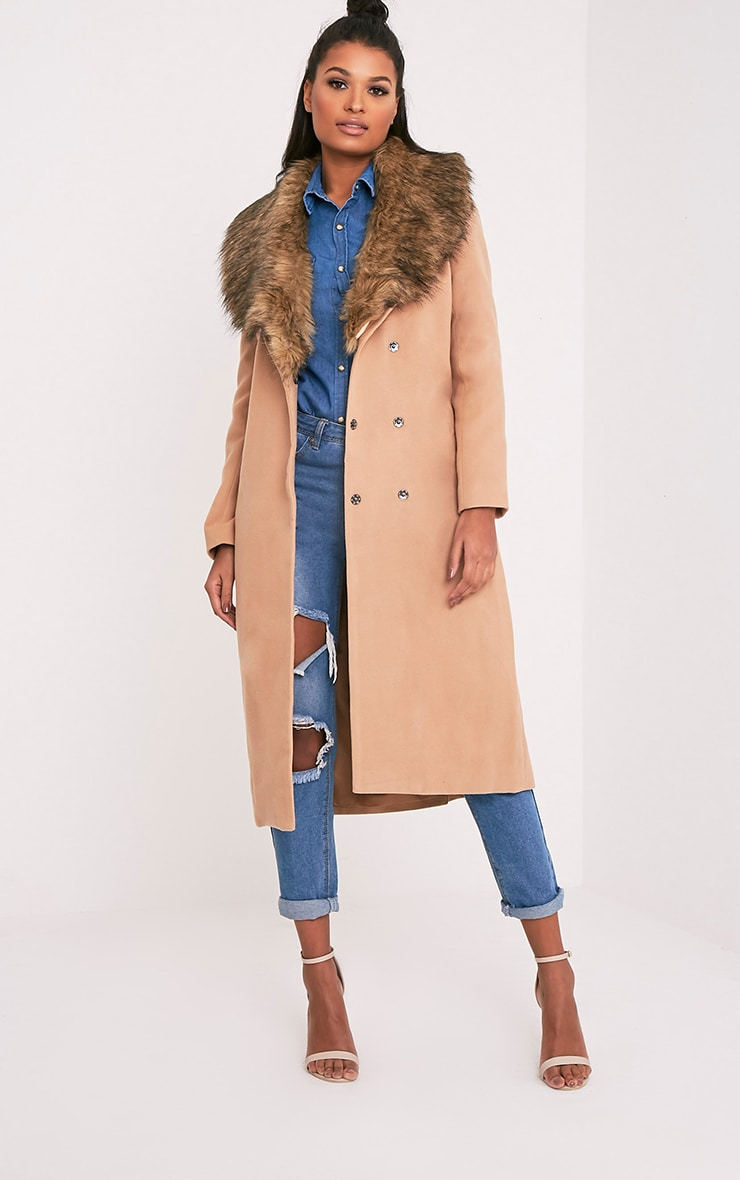 Camel Faux Fur Collar Double Breasted Coat 1