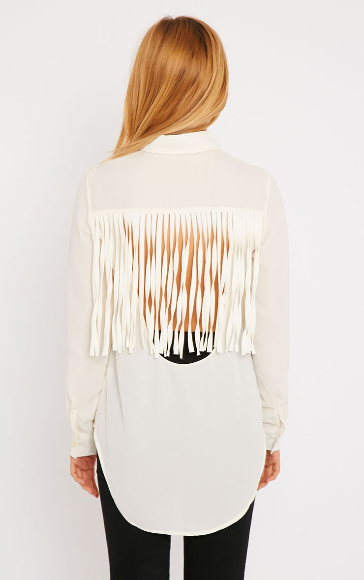Anoki Cream Fringe Back Chiffon Shirt 4