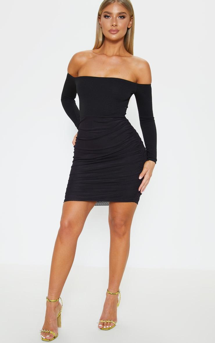 50cf1d19e88 Black Bardot Long Sleeve Ruched Bodycon Dress | PrettyLittleThing USA
