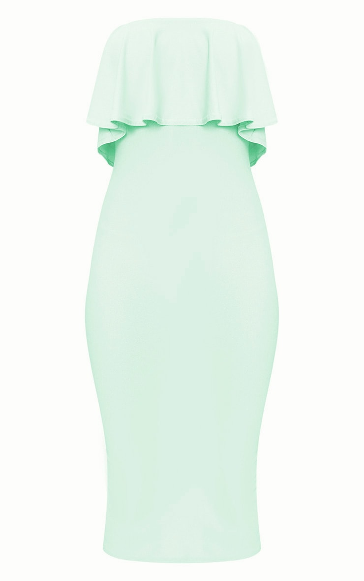 Sage Green Frill Bandeau Midi Dress  3