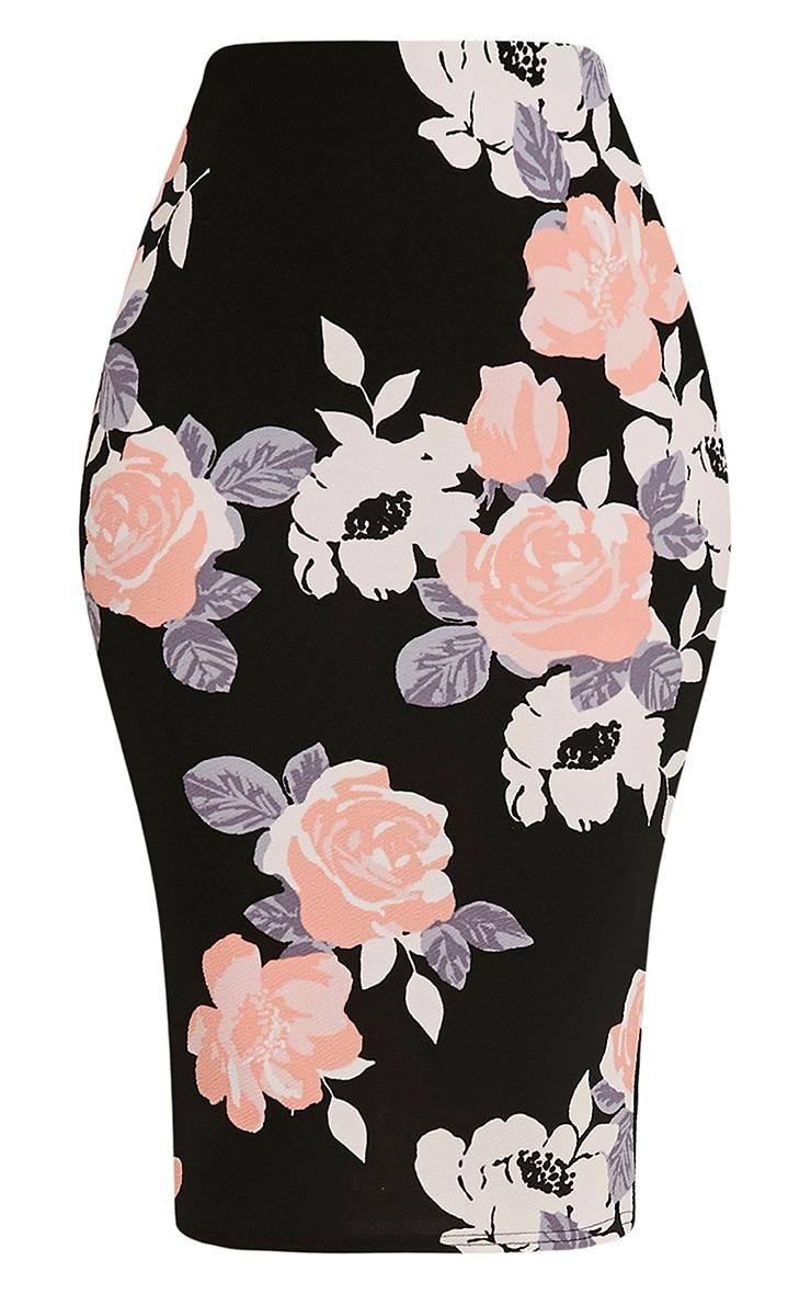 Francesca Peach Rose Print Midi Skirt 2