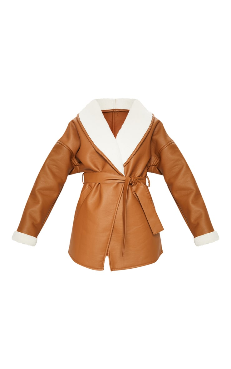 Tan Aviator PU Tie Waist Long Sleeve Jacket 3