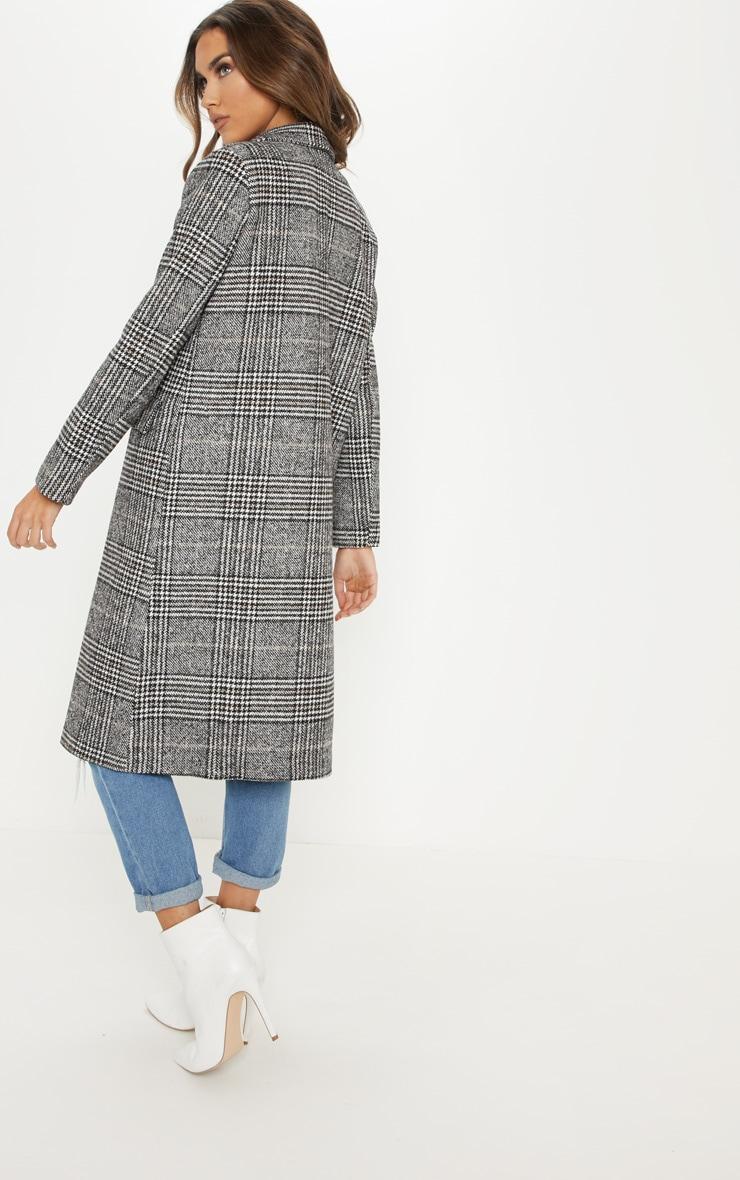 Black Oversized Check Coat 2