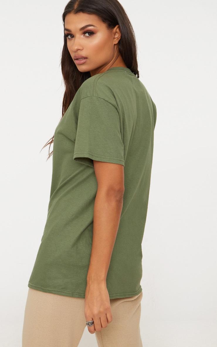 PRETTYLITTLETHING Khaki Slogan Oversized T Shirt 2