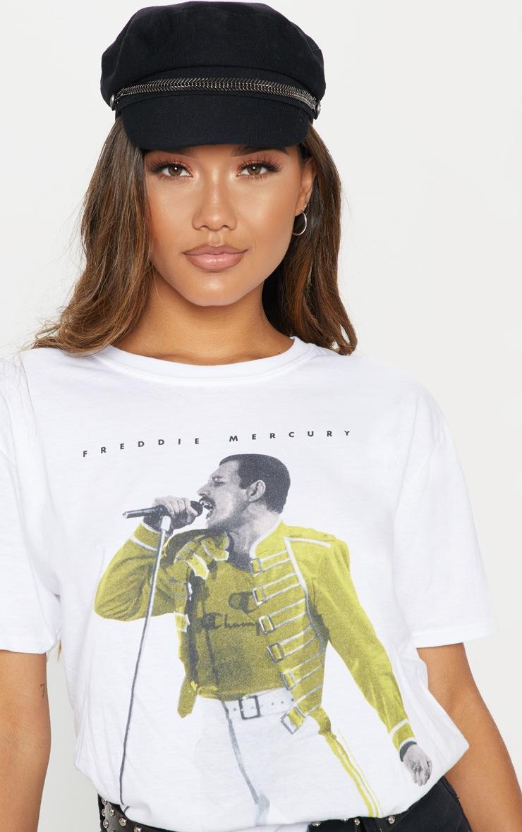 White Freddie Mercury Printed Oversized T Shirt 5