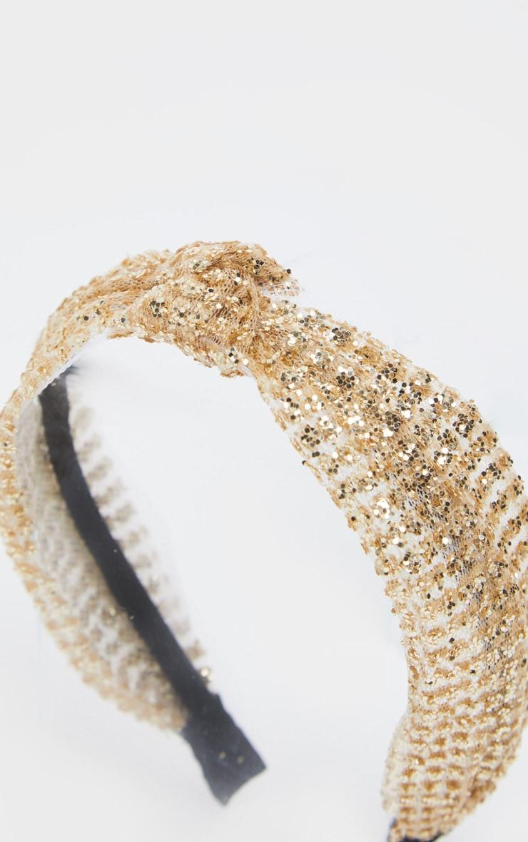 Gold Glitter Knotted Headband 3