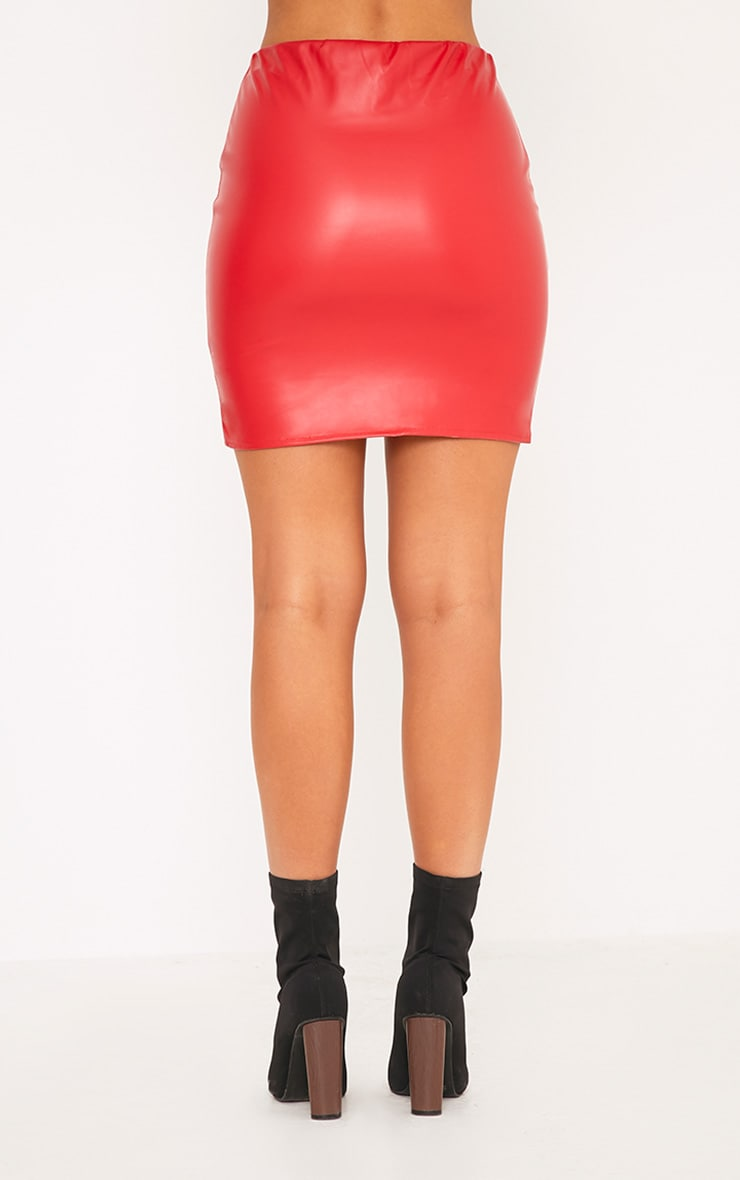 Bekka Red Faux Leather Asymmetric Panel Mini Skirt 4