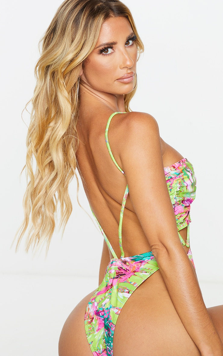 Green Print Ruched Cup Cross Front Thong Swimsuit 2