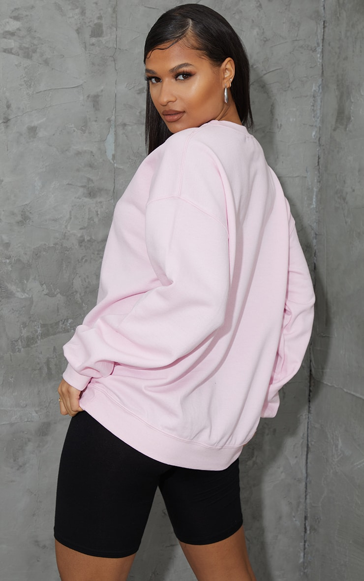 Baby Pink Unavailable Embroidered Slogan Sweatshirt 2