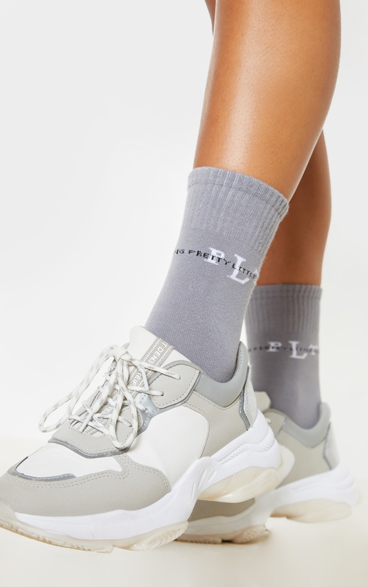 PRETTYLITTLETHING Grey Sports Socks 1