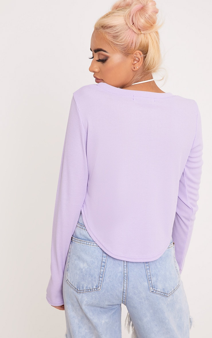 Rava Lilac Jersey Rib Curved Hem Top  2