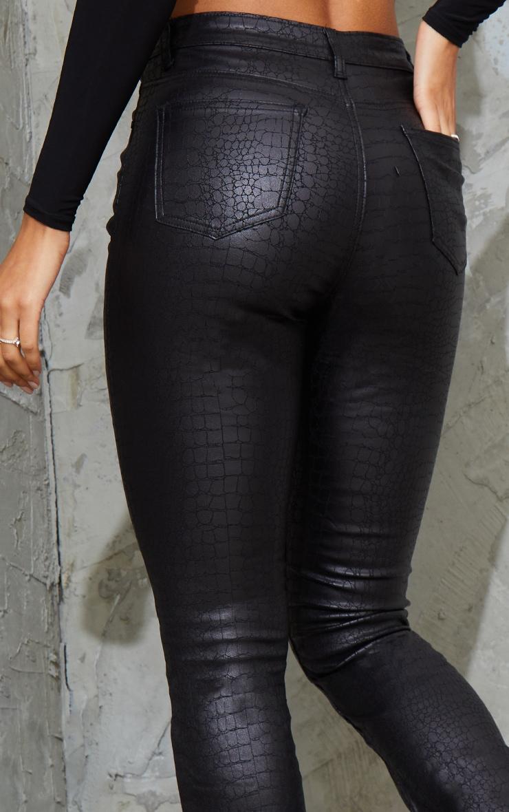Black Coated Croc Denim Flared Jean 4