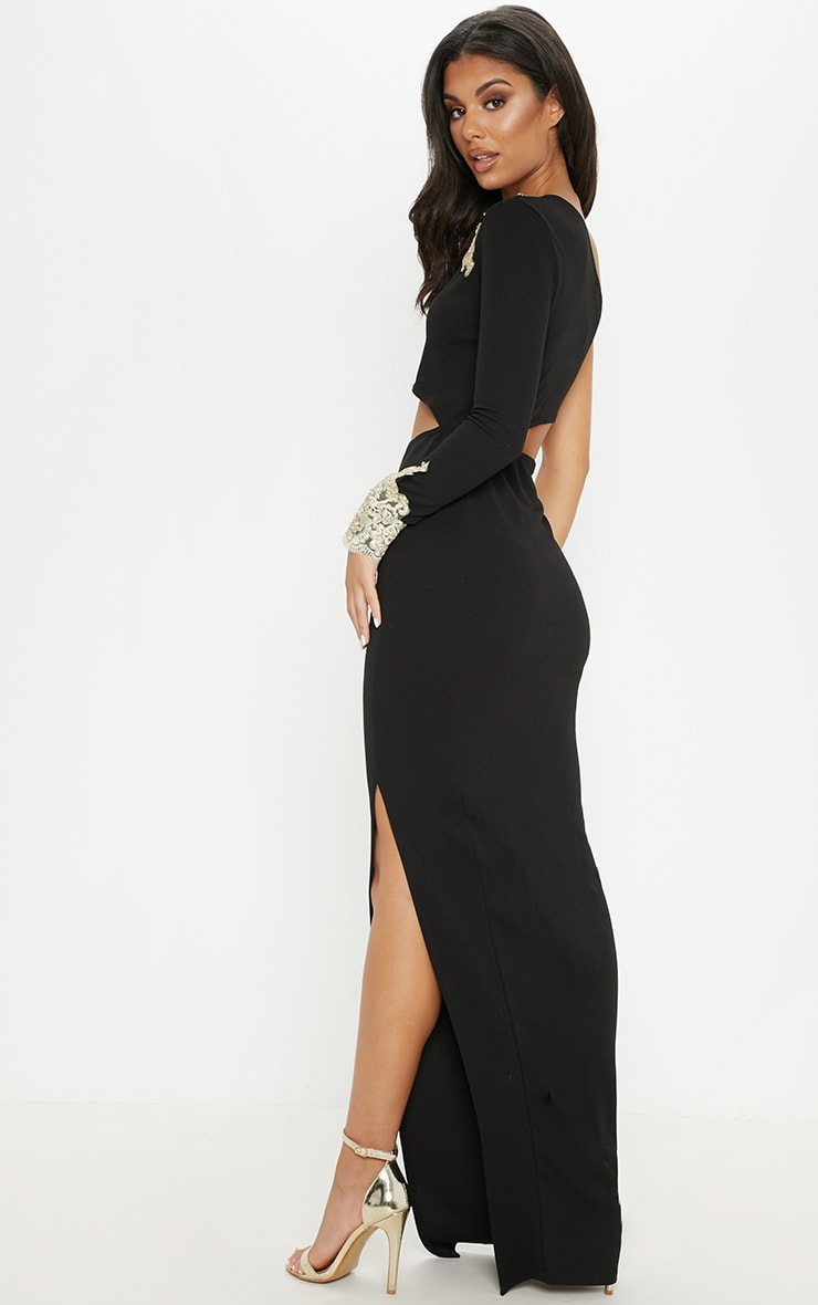 Black Applique Detail One Shoulder Cut Out Maxi Dress 2