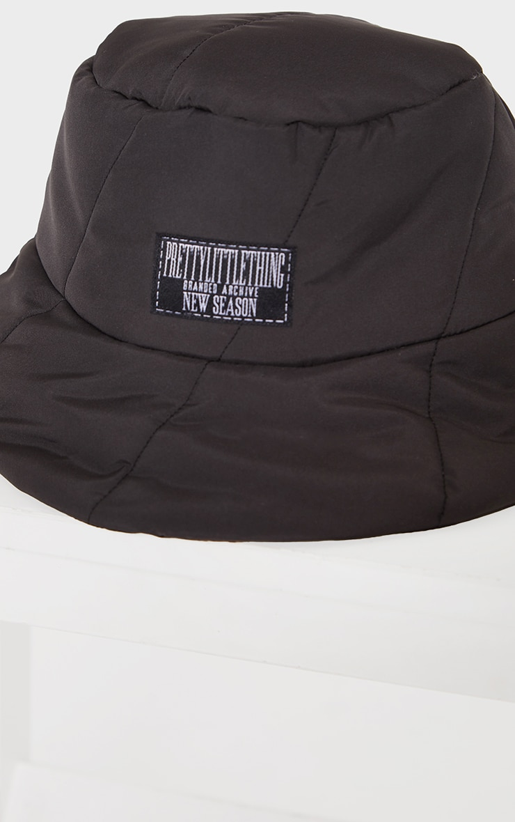 PRETTYLITTLETHING Black Quilted Bucket Hat 3